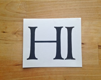 Letterpress greeting card – Hi