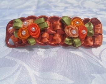 "Orange Sparkly ribbon flowers pop tab , hair clip , barrette 3"""
