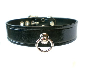 "1"" Vegan ""Leather"" BDSM Collar with Beautiful Large Swivel Ring for fetish slave or submissive choker, synthetic leather"