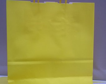 Sunny Yellow paper twisted handeled party bags x 10 with 20 sheets tissue paper