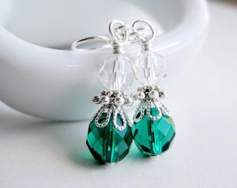Emerald green earrings, glass dangle, faceted earrings, surgical steel, green bridesmaids earings, handmade