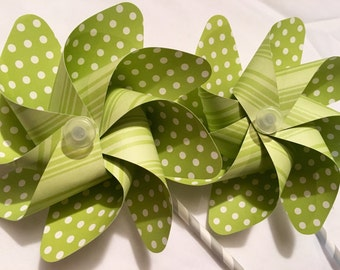 Lime Green Polka Dots and Stripes Pinwheels