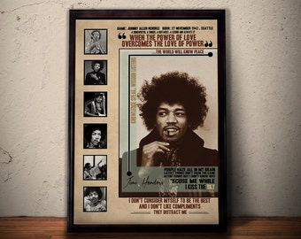 Jimi Hendrix Quote Lyrics Art Print Poster * 27 Club *  Retro Vintage Wall Decortation *  Gift For Him Gift For Her