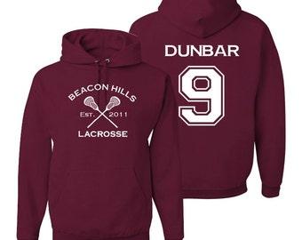 Teen Wolf Hoodie, Dunbar 9, Beacon Hills Lacrosse Sweatshirt