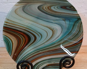 Teal / Orange Fused Glass Bowl