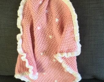 Crochet Pink Bunny Security Blanket, Amigurumi Pink Bunny, Baby Girl Security Blanket, Pink Baby Blanket