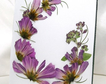 Purple pressed flower picture, Purple cosmos, Purple oregano buds, Airy cosmos foliage, Crescent arrangement, Pressed flowers, Etched frame