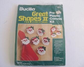 Arts and Crafts, Bucilla Great Shapes II, Bucilla, Great Shapes II, Christmas Decor Christmas Napkin Rings Santa Napkin Rings Plastic Canvas