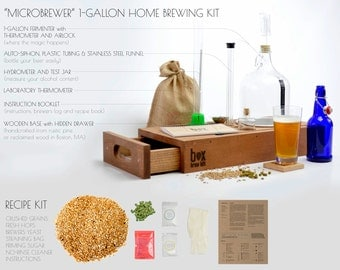 Reclaimed Wood Beer Making Kit - brew your own beer - in style. 1 Gallon Microbrewer Small-batch Brewing Kit