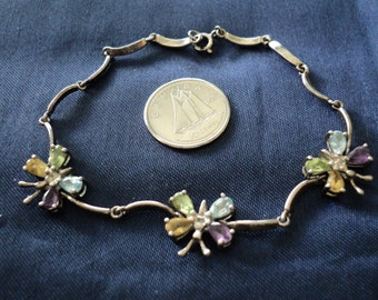"NEW LISTING Chakra Butterfly 7.2g Sterling Silver Bracelet (7"") (1626)"