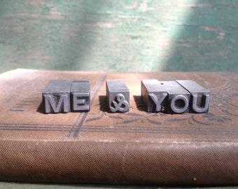 vintage letterpress letters / me and you / tiny trinket