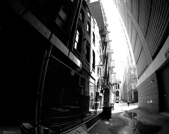 Photograph, Chicacgo photograph, Alley, Architectural photography, Chicago, City, Fine Art, Wall Art, Shadows, Black and White