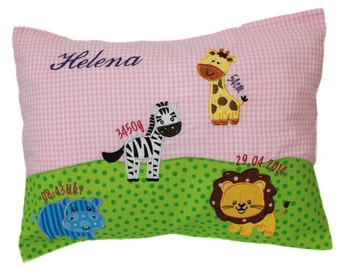 Pillow with request name and born data (DK16)