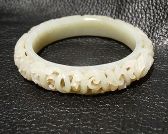 RESERVED Antique Nephrite Bangle Foliate Carving Qing Dynasty 18th/19th Century