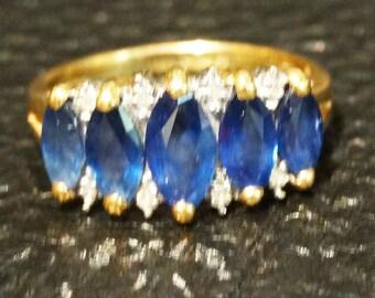 Vintage Sapphire Diamond Ring 14K Gold Kanchanaburi