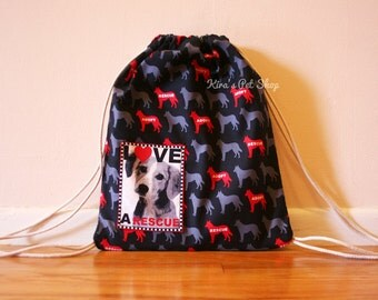 Drawstring Dog Bag, Fully Lined, Dog Backpack, Dog Tote Knapsack, Dog Adoption, Rescued is my Favorite Breed, Gifts for Dog Lovers, Pet Gift
