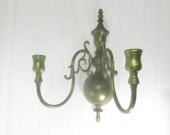brass candle holder, candle sconce, vintage brass, candle holder, wall decor, wall sconce,