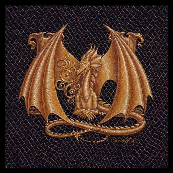 dragon letter m an ornate fantasy monogram from