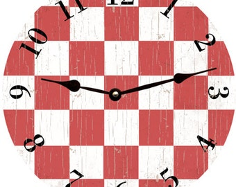 Red Checked Clock