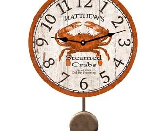 Personalized Pendulum Clock- Crab Clock