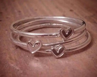 Cute heart stacking rings
