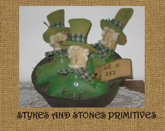 Primitive St. Patrick's Day Leprechaun Bowl Fillers/Ornies/Tucks Pattern
