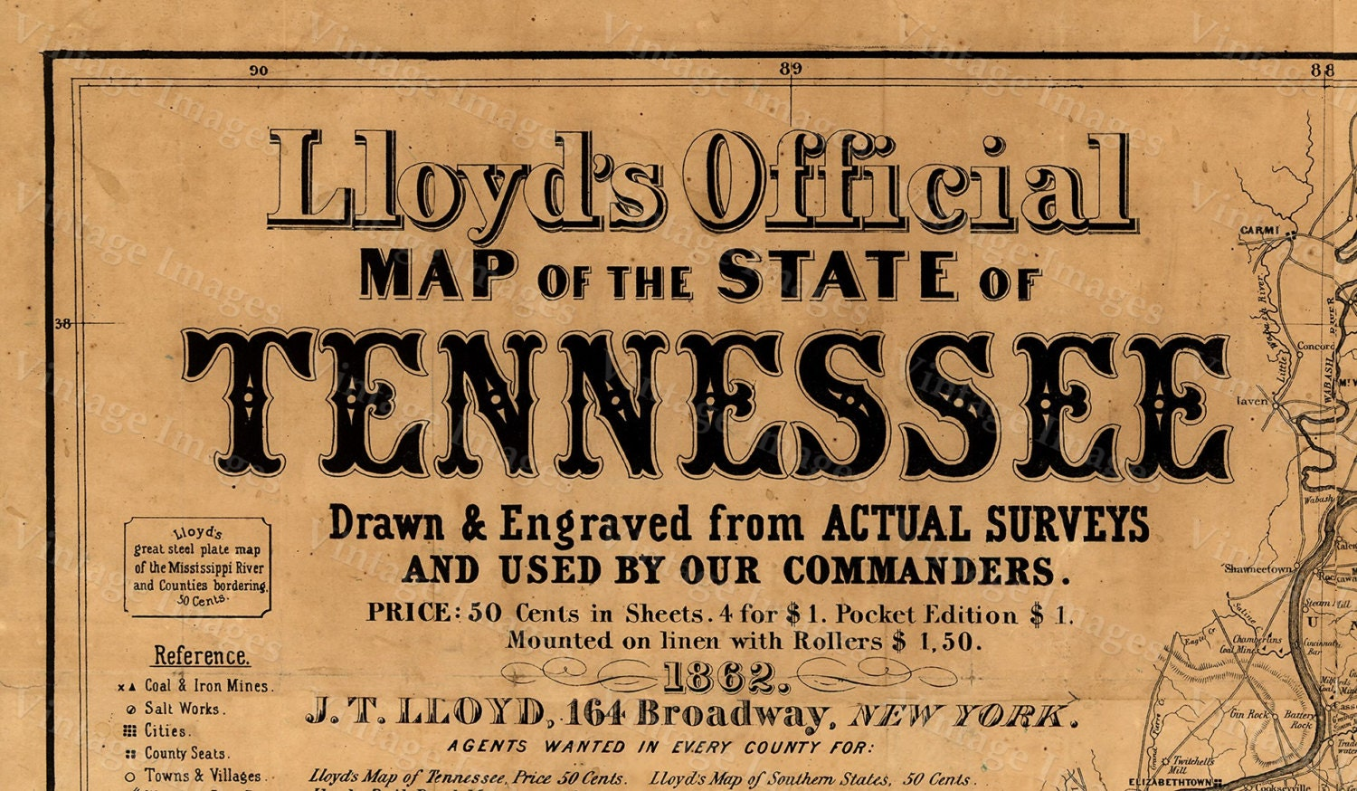 Old Map Of Tennessee  Tennessee Map Vintage Restoration - New york map restoration hardware