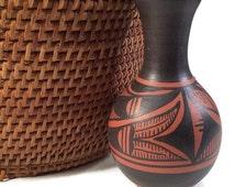 Acoma Pottery Small Redware Vase Pueblo Indian Ceramic