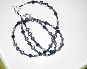 Fresh Water Pearls, Onyx, Hematite and AB Austrian Crystals Necklace and Bracelet Set