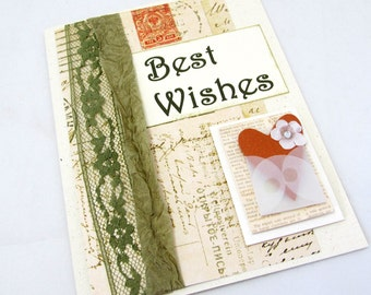 Vintage Wedding Card - Best Wishes - Wedding Card - Engagement Card - Rustic Colors - Blank Card -