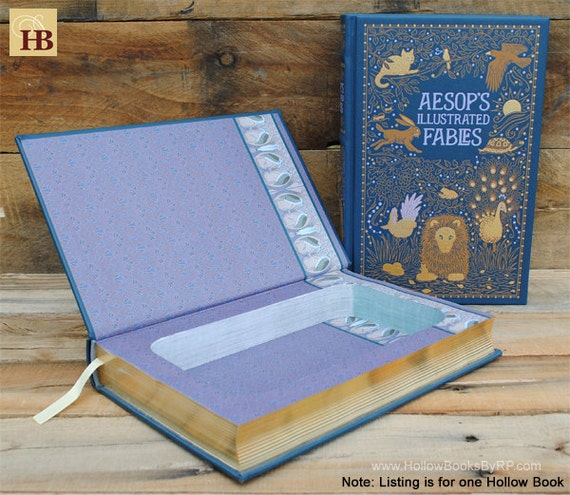 Hollow Book Safe - Aesop's Illustrated Fables - Leather Bound