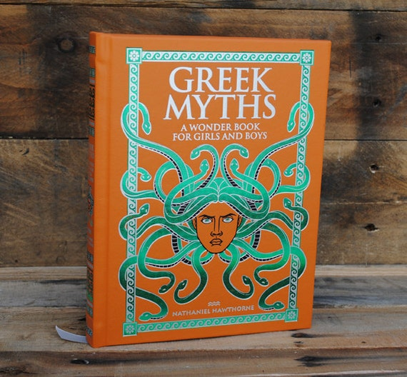 Hollow Book Safe - Greek Myths - Orange and Green Leather Bound