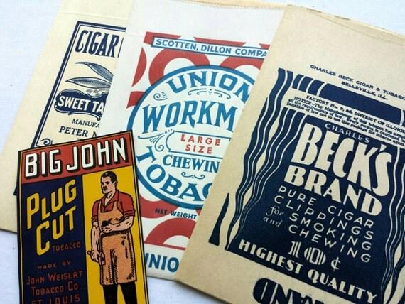 Vintage tobacco bags and label. Cigar clippings bags. Beck's Brand. Big John, Union Workman. Vintage advertising. Tobacco ephemera