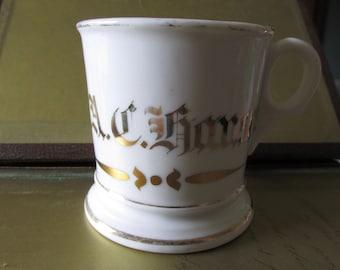 Antique SHAVING MUG Trimmed 24K Gold Signed T & V France Monogrammed C. A. C. Hanson and Trim Heavy Porcelain Household Bathroom Vintage