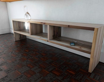 Low level living room shelving and storage.