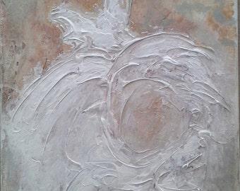 Original abstract ballerina tutu wedding dress painting shabby chic  cottage chic romantic ethereal