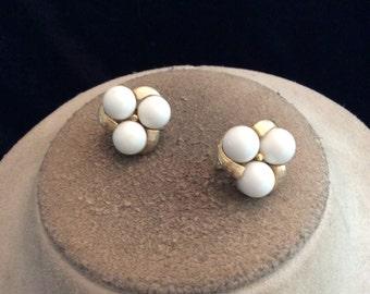 Vintage White Beaded Clip On Earrings