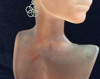 Vintage Sterling Silver Wired Floral Pierced Dangle Earrings