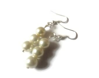 Triple Pearl Bead Earrings