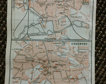 1910 Northampton & Coventry Vintage Map [3.9 x 5.8 in.]