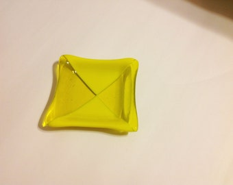 Fused Glass Yellow Dish