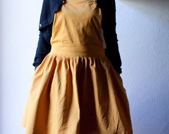 Overalls dress - skirt whit maxi pocket- mustard coton