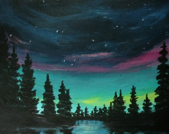 Painting Aurora by the Creek original 5.5x7.5 by Canadian artist Fay Fecteau
