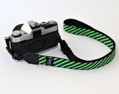 Preppy stripes green and black My Funky Camera strap for compact cameras