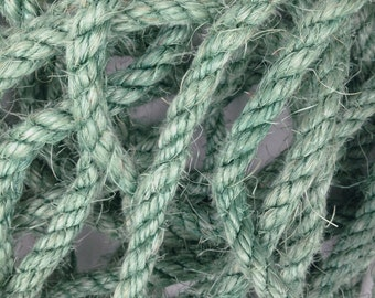 """5' Teal Sisal Rope, Turquoise Sisal Rope, Dyed Seaglass Color, 1/2"""""""