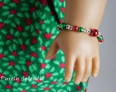 Festive Ornament Bracelet for 18 inch girl dolls, holiday accessory, dollie jewelry, Christmas arm candy, stocking stuffer, American made