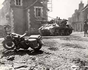Harley Davidson Motorcycle , near a tank, Normandy, France WLA #WWII Photo Print