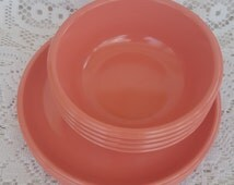 8 Pieces Vintage Rubbermaid 3838 Plates & 3836 Bowls Pink Coral 4 Each Mealamine