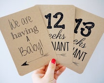 Pregnancy Milestone Cards - 36 Kraft Cards - Unisex/Gender Neutral - Perfect for a Gift and an Excellent Way to Document Your Pregnancy.