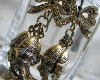 Upcycled Vintage Damascene Bow and Fish Earrings from Toledo, Spain